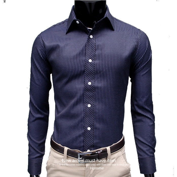 High Quality New Striped Shirt Men Cotton Slim Fit Casual ...