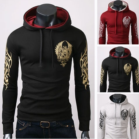 Hooded Sweater Men color Printing  Long Sleeved Sweater ...