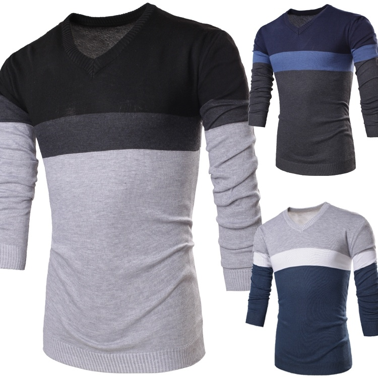 hot fashion color block decoration stripe male slim ...