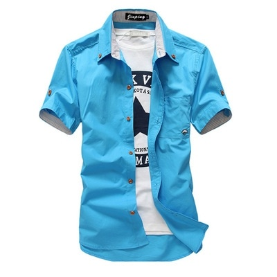 Hot Sale Men shirt new mushroom embroidery short sleeve ...