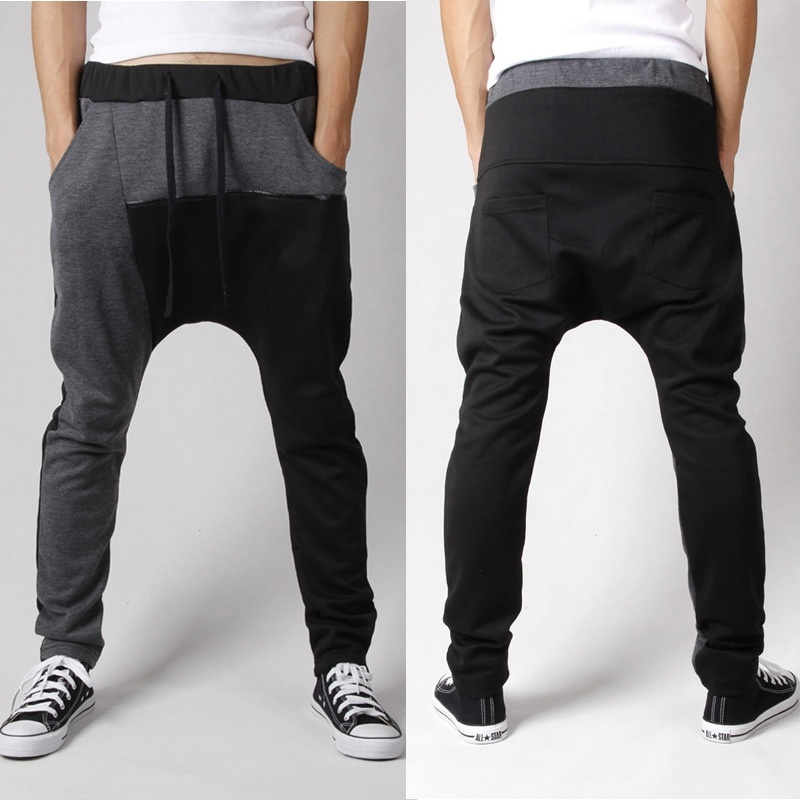 Men Casual  Harm Pants PatchWork Loose Trousers