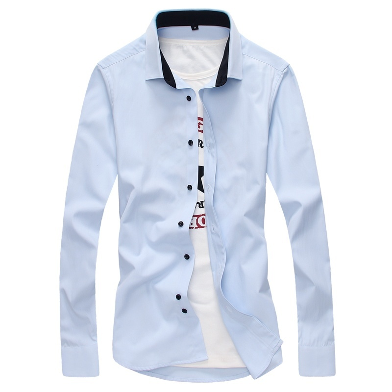 Men Casual Long Sleeve Shirts Men Solid Dress Shirts ...