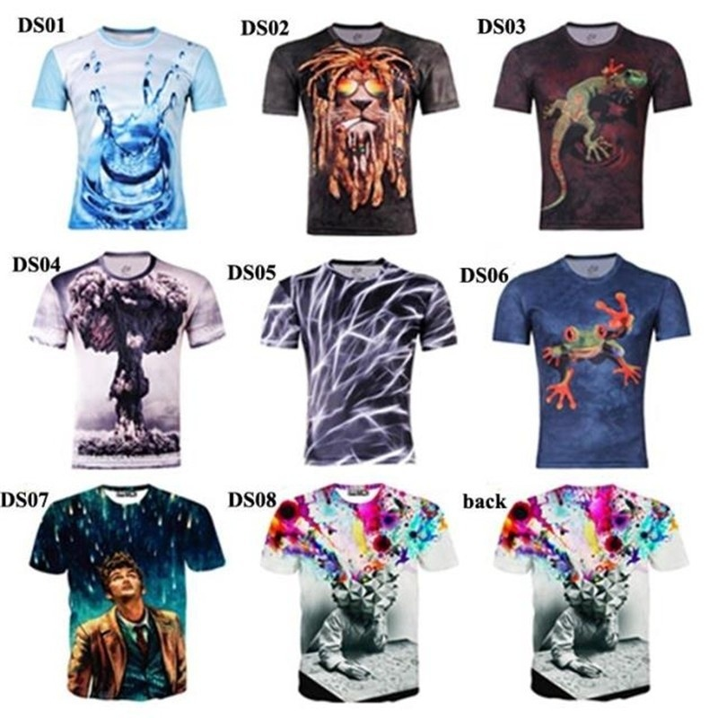 Men Fashion 3D Printing T shirt Short Sleeve  O-neck ...