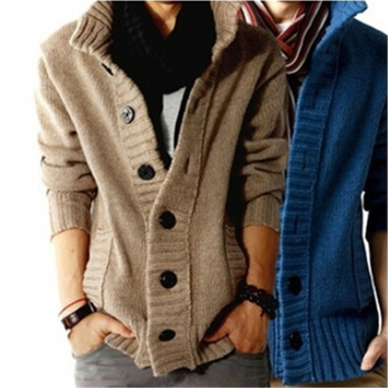 Men Fashion Korea Style Single Breasted Sweaters