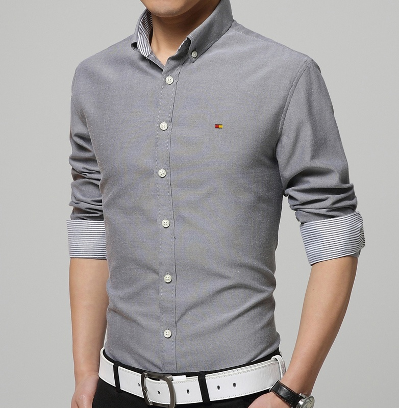 Men Long Sleeve Dress Shirts Mens Solid Color Buisness ...