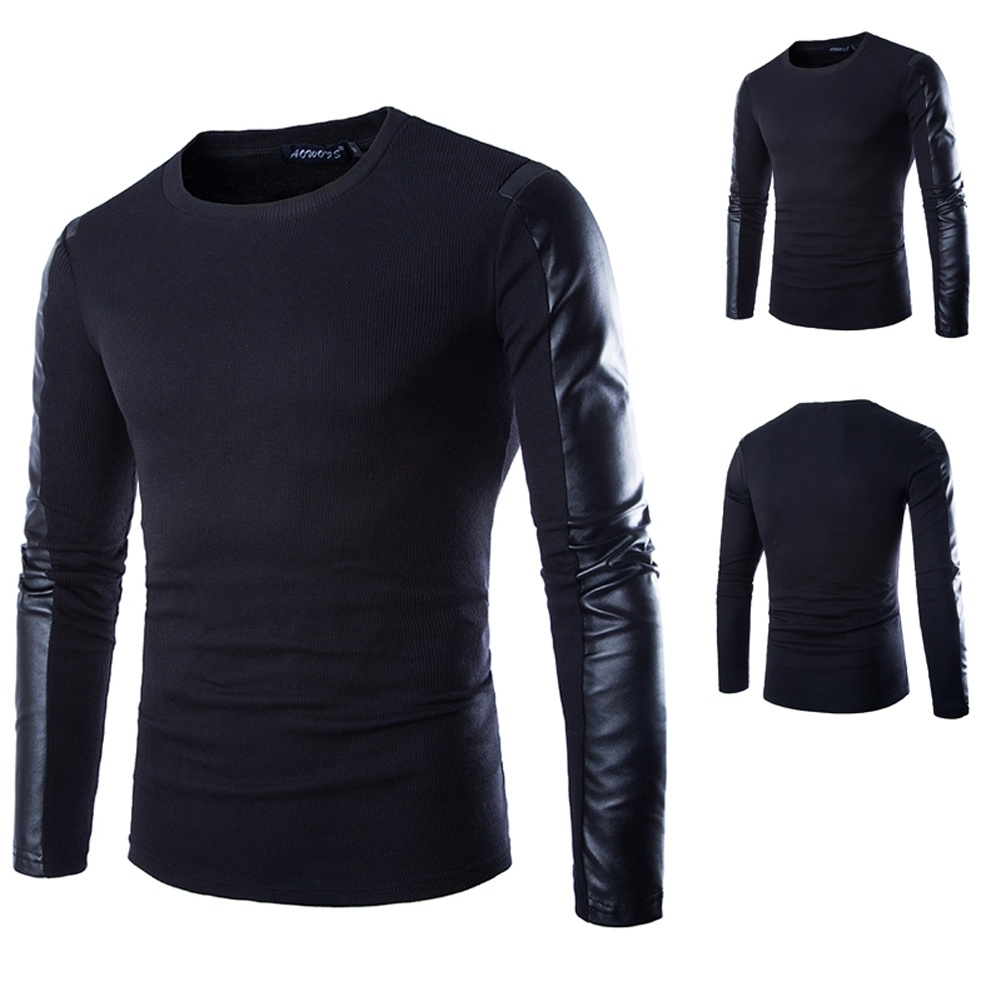 Men Long Sleeve PU Spell Leather Round Collar T-Shirt
