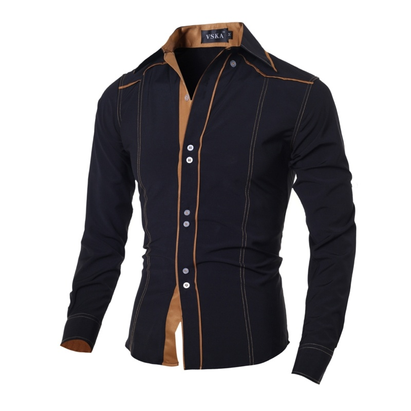 Men Slim Fit shirt Men Long Sleeve Casual Shirts