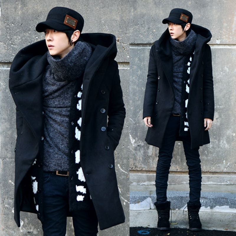 Men Wild Winter Coat Woolen Slim Long Male Thick Hooded ...
