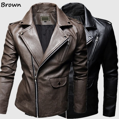 Men's Brown Slim Full Sleeves Jackets Motorcycle leather ...