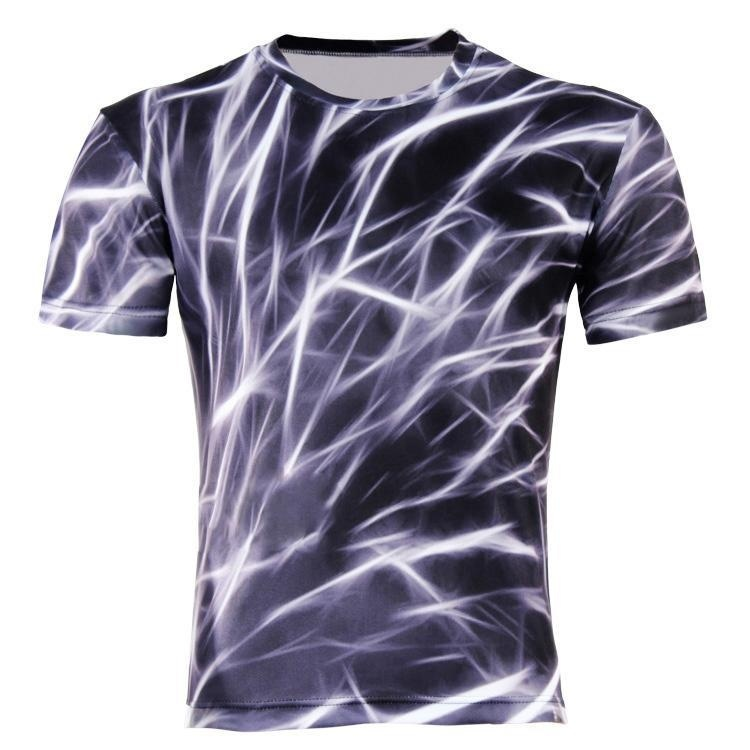 Mens Casual 3D Printing Lightning Mesh T-shirt Black ...
