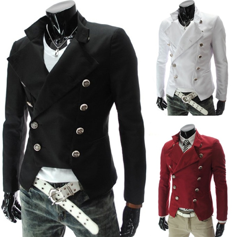 Men's Casual Slim Fit Double-breasted Suit Blazer Coat