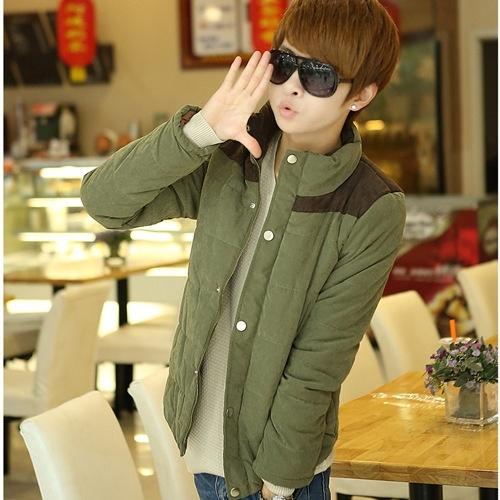 men's coat collar jacket stitching fashion casual short ...