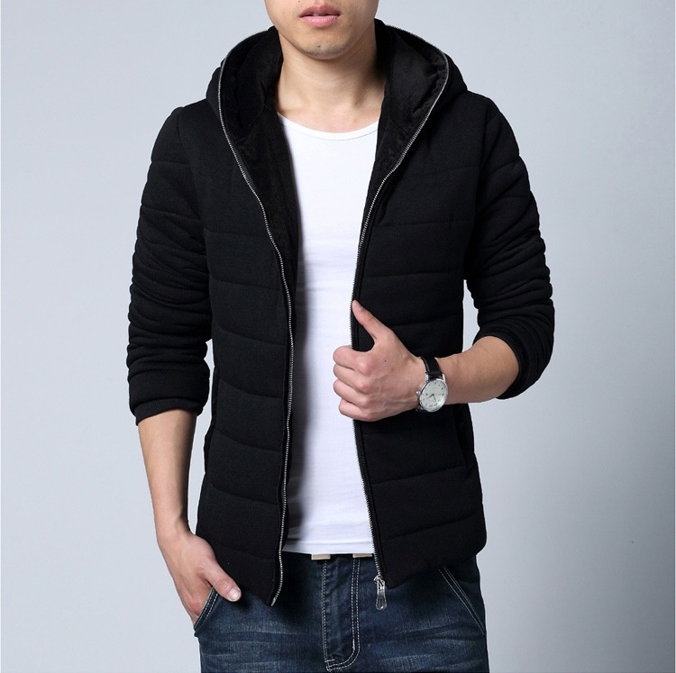 Men's color code hooded cotton corduroy thickened knitted ...