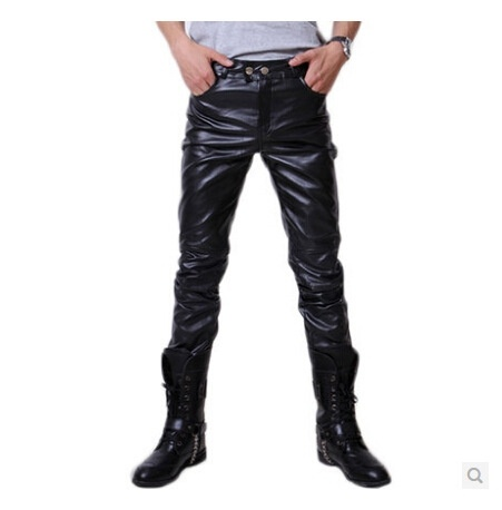 Men's Fashion PU Leather Casual Pants Motorcycle Leather ...
