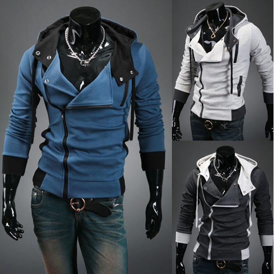 Men's Fashion Slim Cable-stayed Hooded Sweater