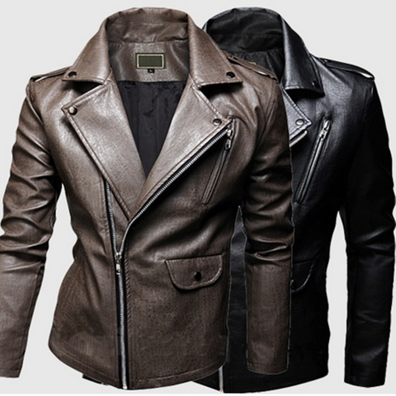 Men's fashion solid color lapel oblique washed leather ...