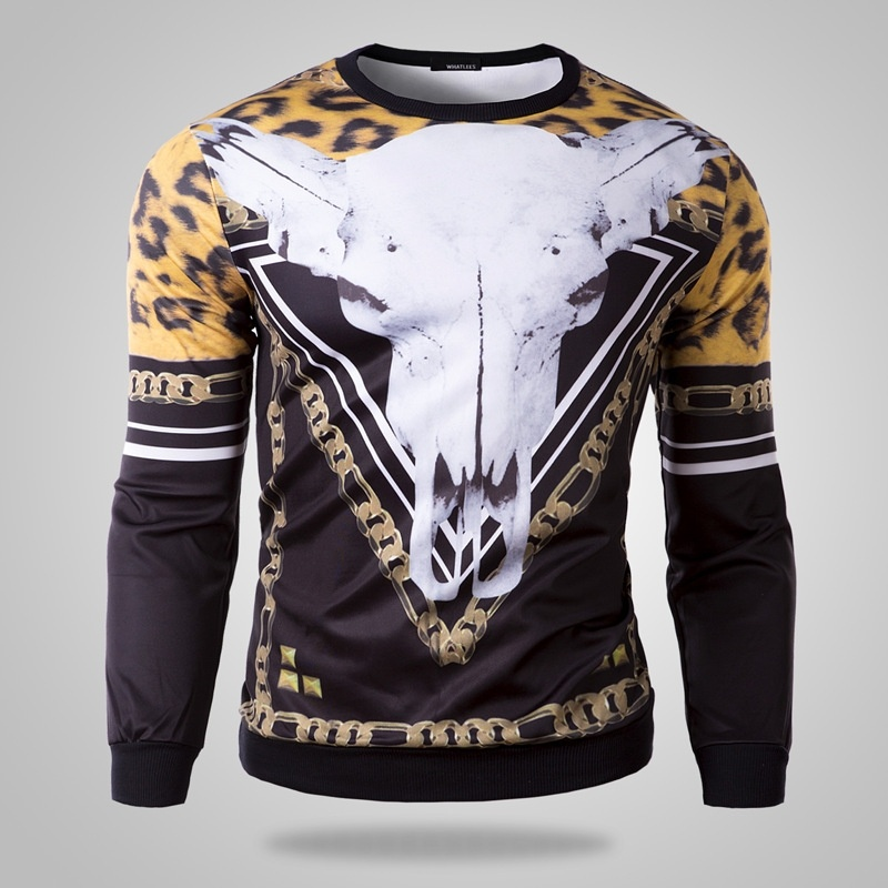 men's fashion sweater Mens T-shirt all-match Abstract ...