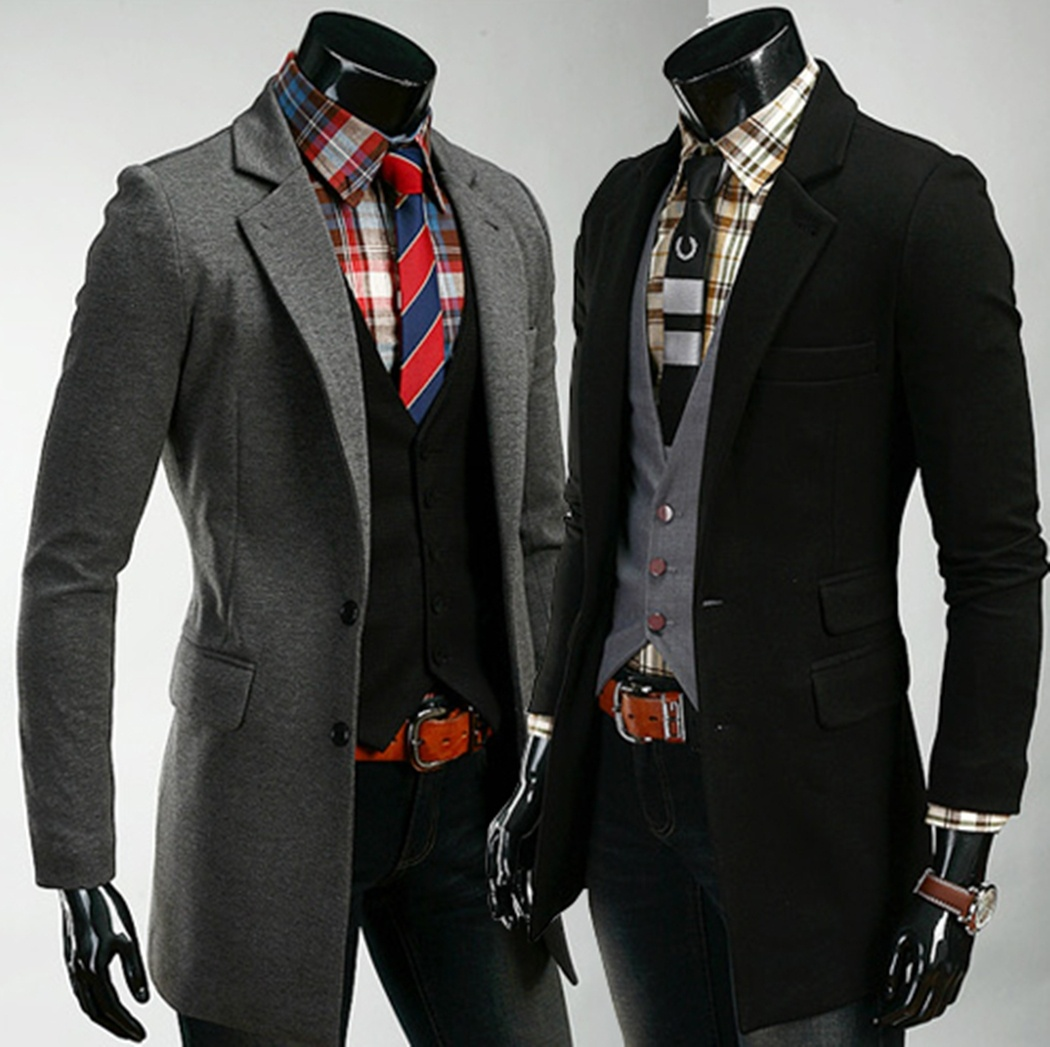 Men's Fashion Trend Long Casual Slim Suit Jacket.2 Colors ...