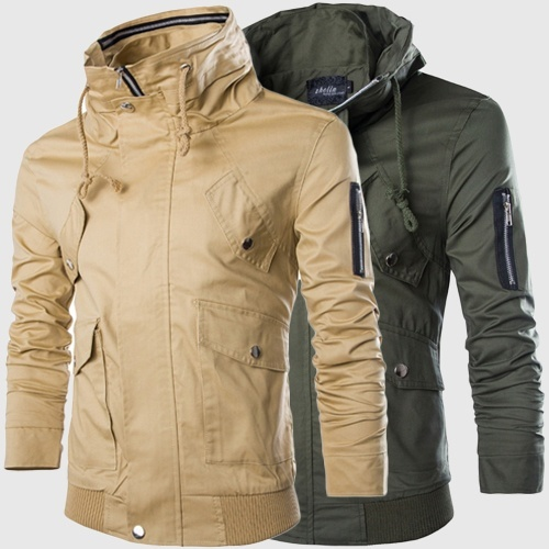 men's jacket casual pockets coat stand collar pure color ...