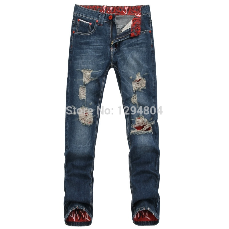 mens jeans brand destroyed hole jeans straight men's ...