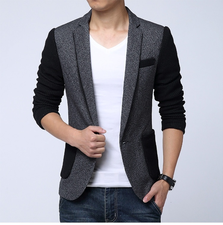 Men's leisure color wool single row size casual suit ...