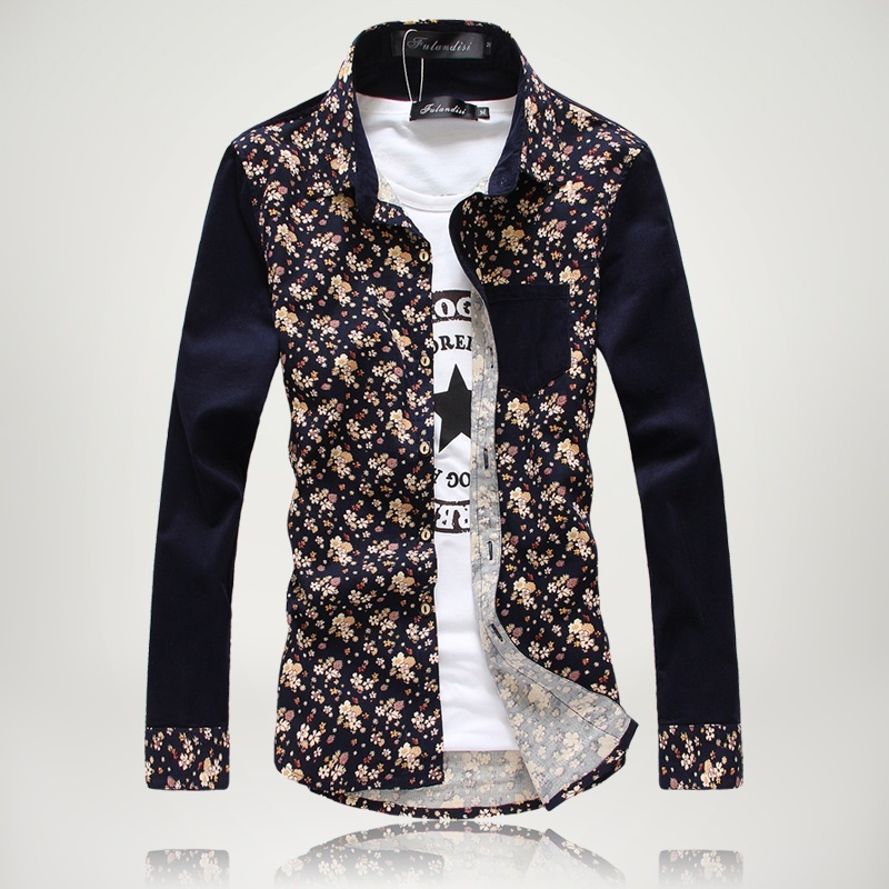 Men's long-sleeved shirt Slim flower in spring and autumn ...