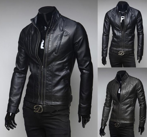 Men's motorcycle leather jacket collar Multi Pocket ...