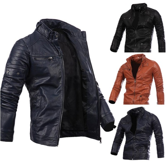 Mens multi zipper button collar men's motorcycle leather ...