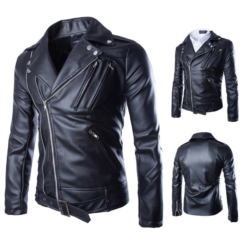 Men's new winter leather motorcycle lapel zipper design