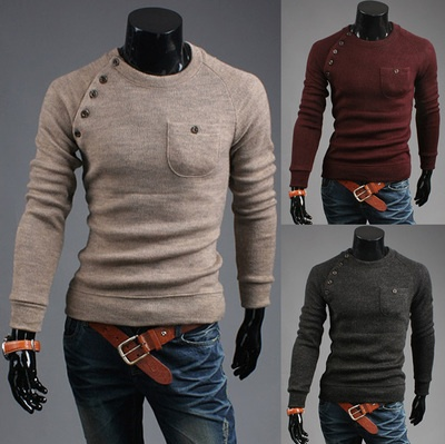 men's round neck long-sleeved sweater, men's single ...