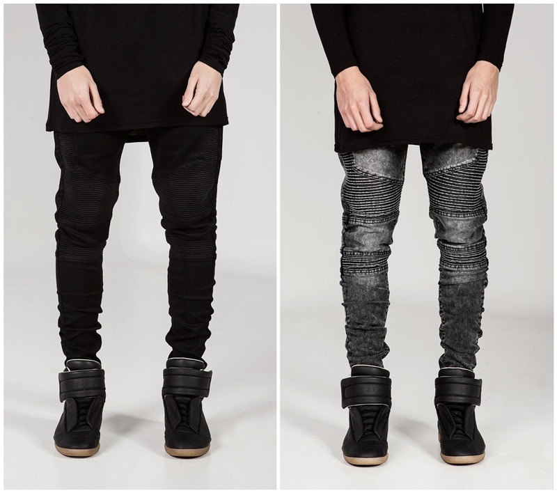 Mens Skinny jeans men Runway Distressed slim elastic ...