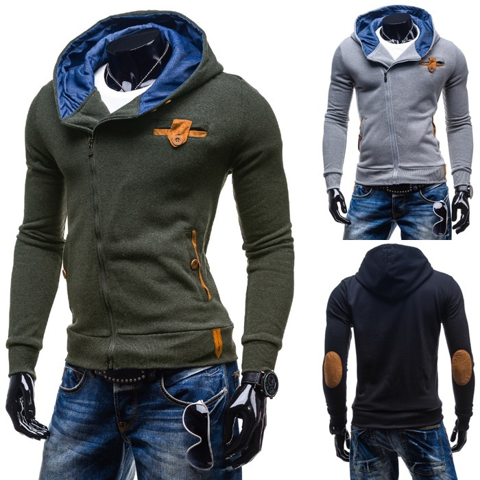 men's slim Hooded Sweater oblique zipper