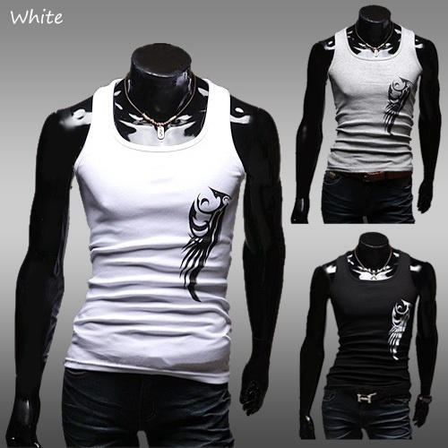 Men's Summer White Slim Fashion Sleeveless Tank Tops ...