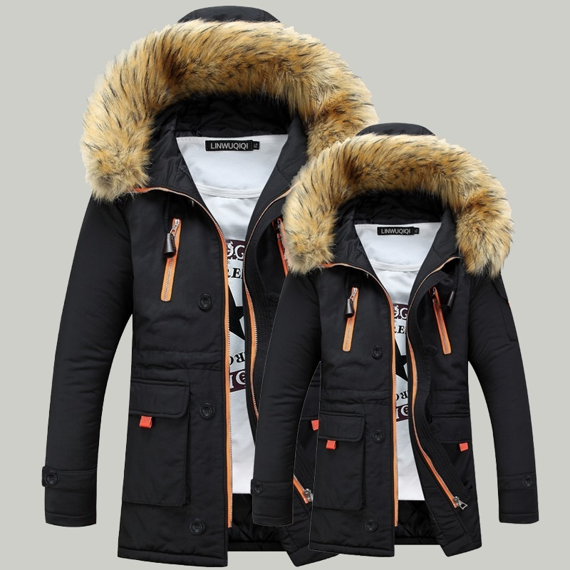 Men's Thick Fur Collar Winter Overcoat Warm Down Parka ...