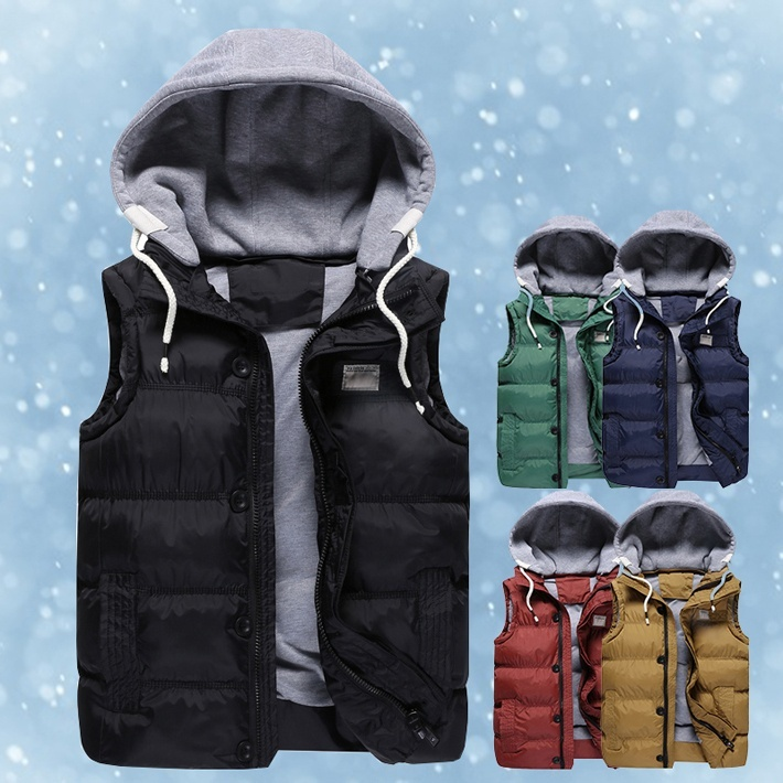 Men's Thicken Slim Casual Vest With Hat Detachable