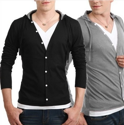 men's warm hoodie long sleeve jacket shirt casual genleman