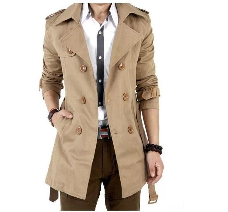 Men's Windbreaker Fashion Slim Double Breasted Jacket