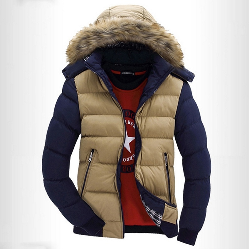 Mens Winter Clothing Thick Patchwork Hooded Quilted ...