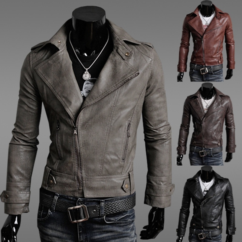 Men's Winter Fashion Casual Slim Pu Leather Jacket