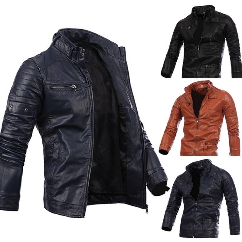 Men's Zipper Leather Motorcycle Standing Collar Jackets ...