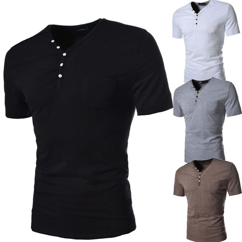 New button decoration men's slim sleeve T-shirt