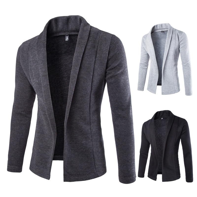 New Fashion Casual Cardigan Sweater Coat Slim Men's ...