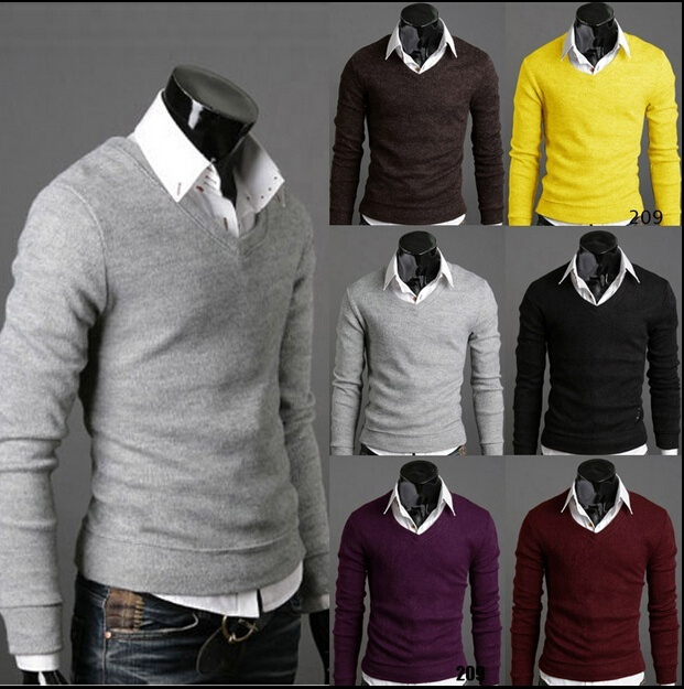 New Fashion Thickened Man V Collar Bottoming Sweaters