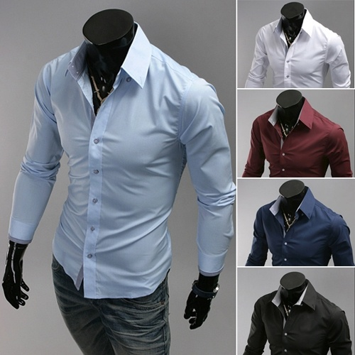New men shirt pure color leisure cotton shirt men long ...