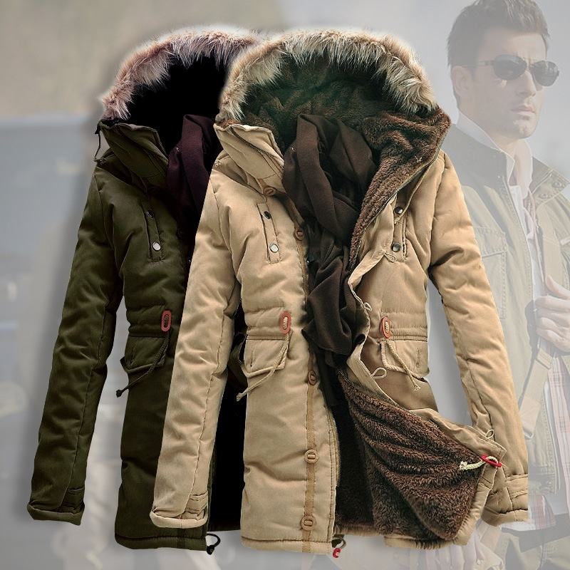 New Men's Duck Down Winter Fur Collar Hooded Trench ...