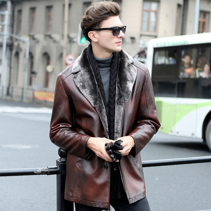 NEW Men's Fashion Warm Winter Thick Leather Long Coats ...