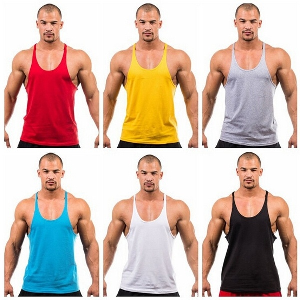 New Men's Sports Fitness Loose Shirt Tops Sleeveless ...