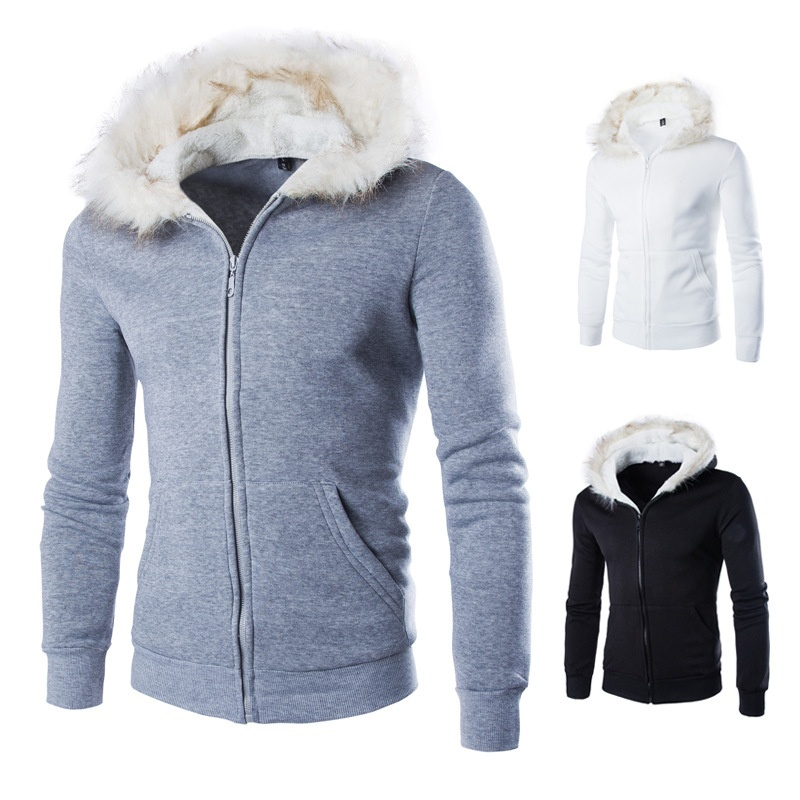 New winter fur collar hooded cardigan sweater wholesale ...