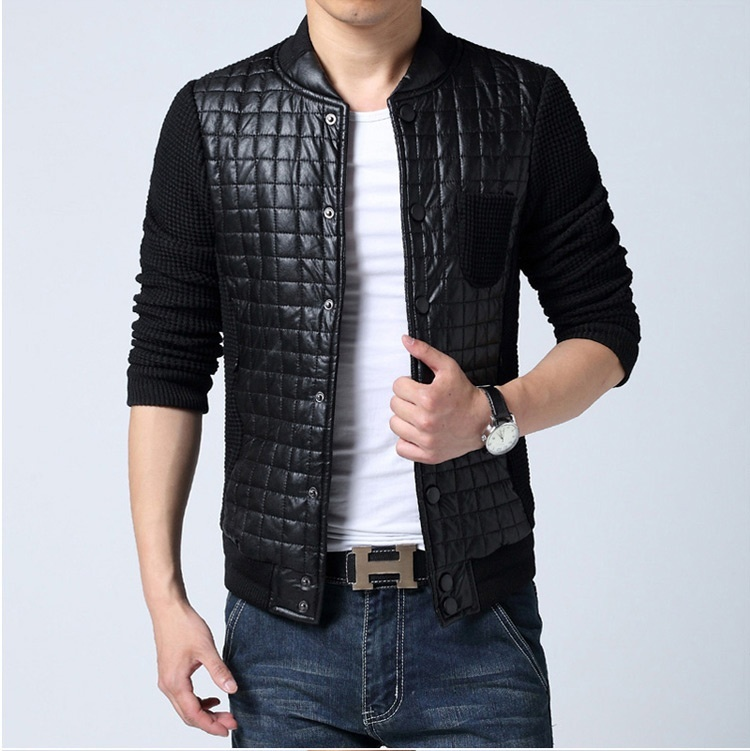 Plus size Brand Fashion Men Jacket Casual Black Patchwork ...