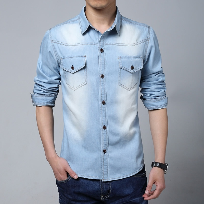 Plus Size Men Designer Denim Shirts Long Sleeve Men ...